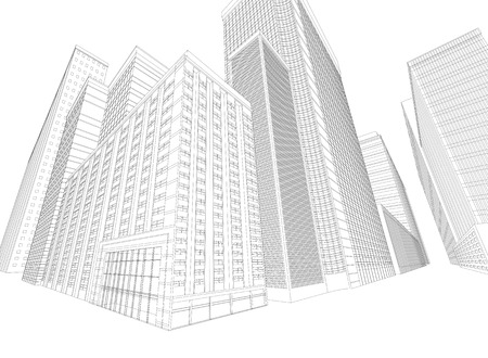 townscape: Townscape wireframe building on a white background