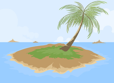 island cartoon: Island cartoon scene,travel background