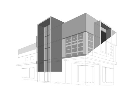 modern home: Wireframe modern home style on a white background