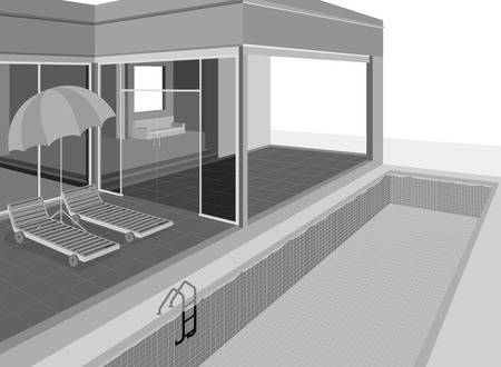 swimming pool home: Home exterior Illustration