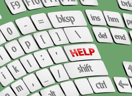 help button: Help button on computer keyboard Illustration