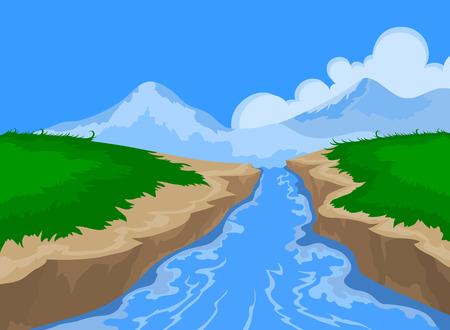 川と美しい自然風景のベクトルの背景  イラスト・ベクター素材