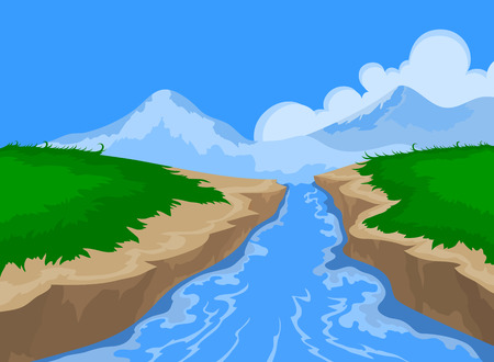 River and beautiful nature,landscape vector background