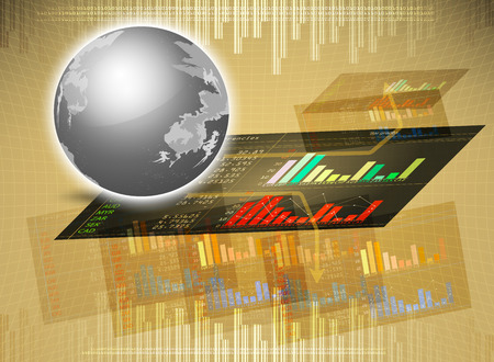 foreign currency: Trade on marketing,bar graphs foreign currency vector background