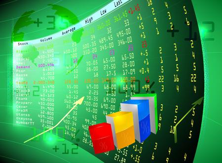 Bolsa de valores en la pantalla, los conceptos de negocio fondo