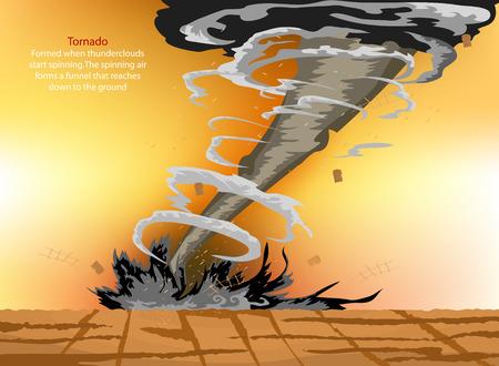 tornado: Tornado disaster nature cartoon background