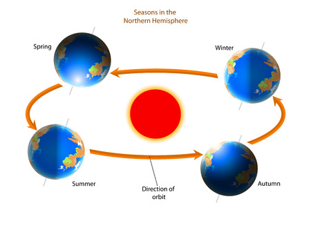 Cycle of seasons,As the Earth spins on a tilt nature background Illustration