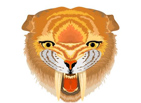 sabre: Smilodon Sabre tooth cat,Prehistoric life vector background Illustration