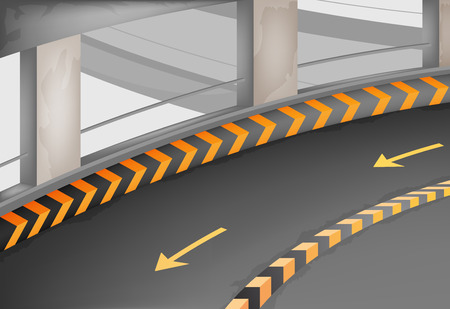 two way traffic: Parking lot,car park building interior  Illustration