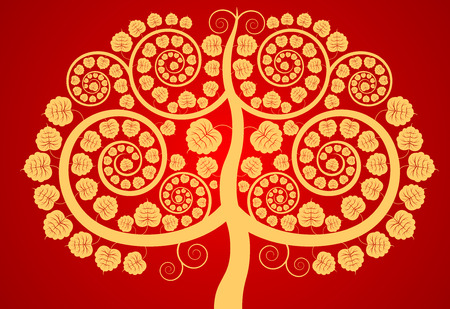 asian art: Bodhi tree contemporary Asian art pattern vector background