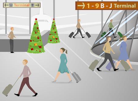 airway: Passenger inside the airport terminals Illustration
