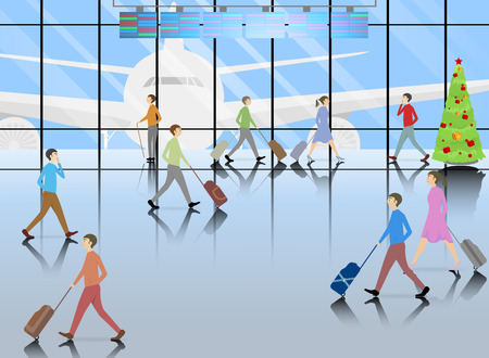 Tourist industry,passenger inside the airport terminal Illustration