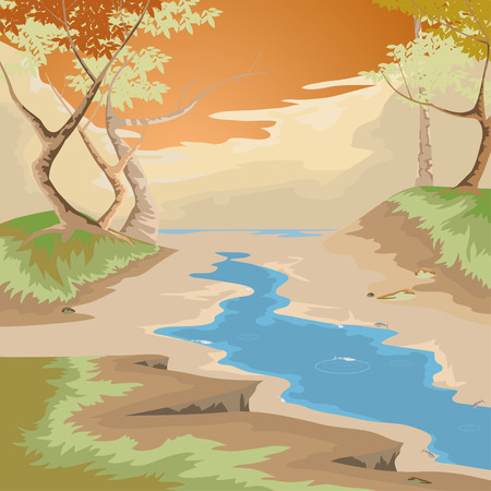 Drought and forest,nature landscape vector background