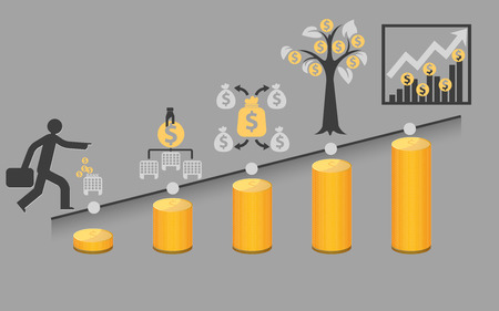 How to invest,vector cartoon business concepts background Illustration