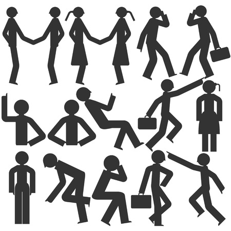 deportment: Bodily movement vector cartoon on a white background