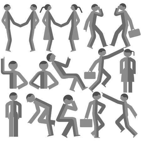 deportment: Dimensional bodily movement vector on a white background