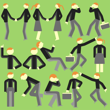 deportment: Cartoon bodily movement vector on a green background