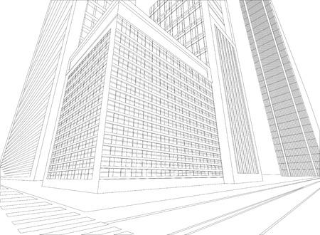 Cidade ruban wireframe em um fundo branco