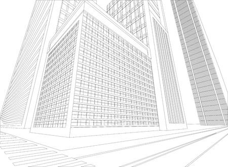 Wireframe ruban city on a white background