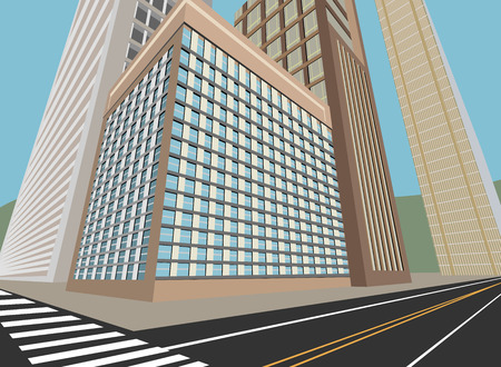 residential building: Road and city scene,residential building vector background