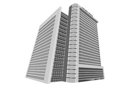 plaza: Sample plaza,shopping mall building model on a white background