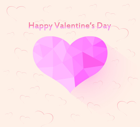14 feb: Beautiful valentines day greeting card,glossy heart shape vector background Illustration