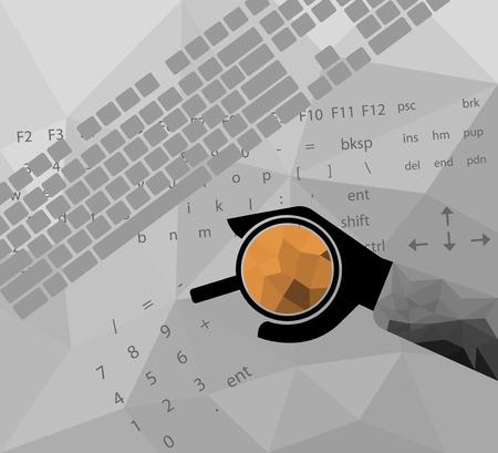 tasse caf�: Low poly main humaine tenir une tasse de caf�, des concepts d'affaires