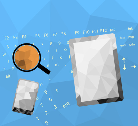 smartphone business: Low poly business concepts,tablet,smartphone on desk vector background