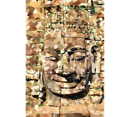 buddha face: Low poly Buddha face,Angkor thome vector background