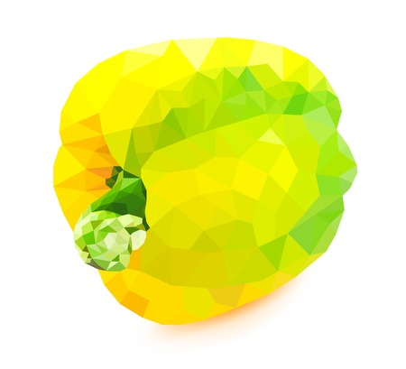 capsicum plant: Low poly yellow bell pepper on a white background Illustration