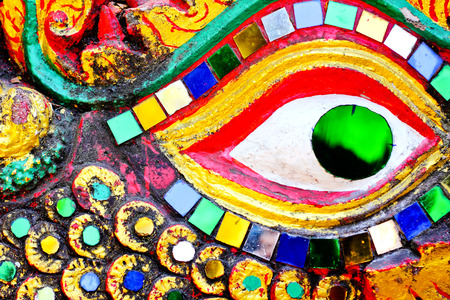 asian art: Colorful dragon eye texture,Asian art background Stock Photo