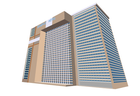 plaza: Sample hotel plaza building on a white background Illustration