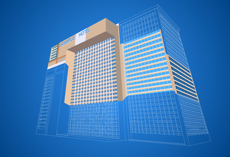 plaza: Wireframe with dimensional hotel plaza building on a blue background
