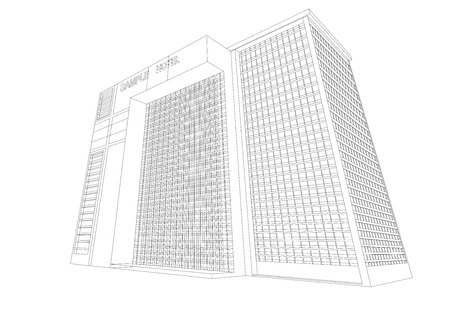 plaza: Wireframe hotel plaza building on a white background