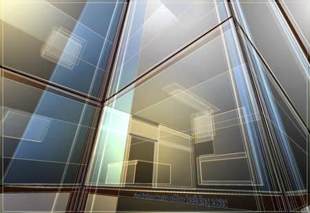 townscape: Office building wireframe,architecture abstract vector background