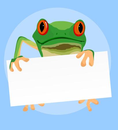 tree frogs: Ranas arb�reas de ojos rojos con un libro blanco sobre azul vector de la historieta