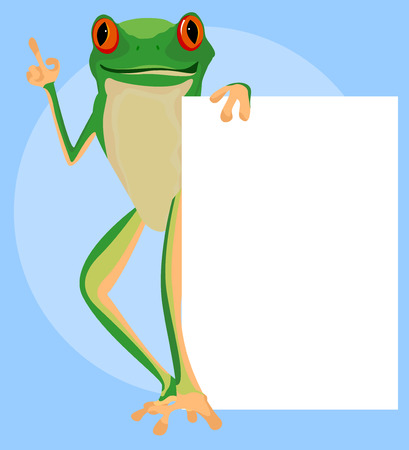 red eyed tree frog: Red eyed tree frog with a white paper on blue background