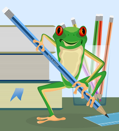 eyed: Tree frog pupil cartoon,back to school vector background