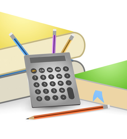 calculate: Calculate and books vector on a white background Illustration