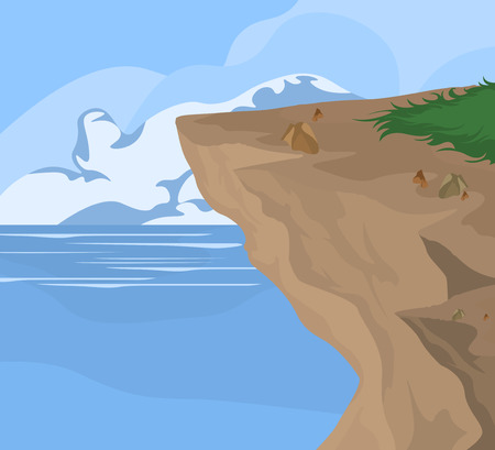 geological: Coastal and sea,nature seascape vector background Illustration
