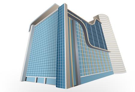 Residencial, exterior de construção colorido em um fundo branco