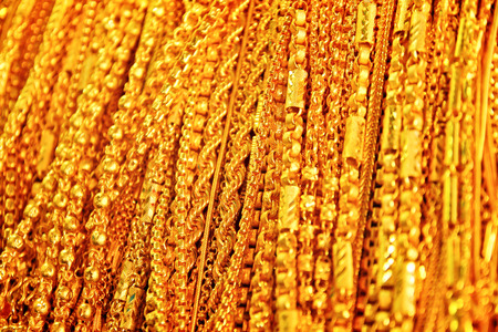 Close up Gold Necklace scene Stock Photo