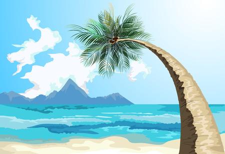 Palm on the beachvector seascape background Illusztráció