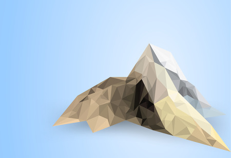mountain scene: Low poly mountain scene on a blue background