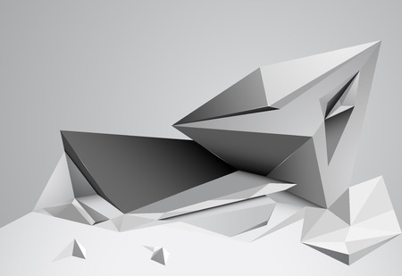 three dimensional shape: Abstract shape gray color low poly background