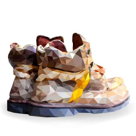 low angles: Shoes boots low poly vector on a white background