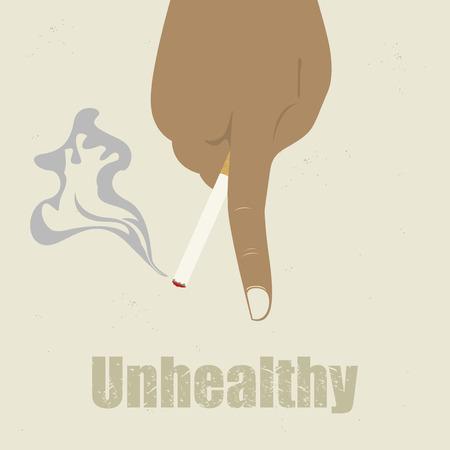 unhealthy: Cigarettesmoking vector de fondo poco saludable Vectores