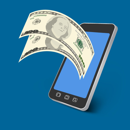 paying: Paying on mobile phone business background