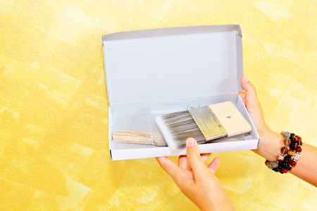 woman  hand: Woman hand holding toolkit box for painting