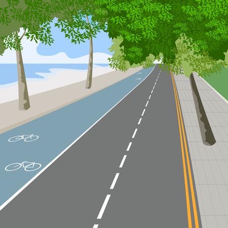 自転車レーン、トラフィック サイン自然風景のベクトルの背景